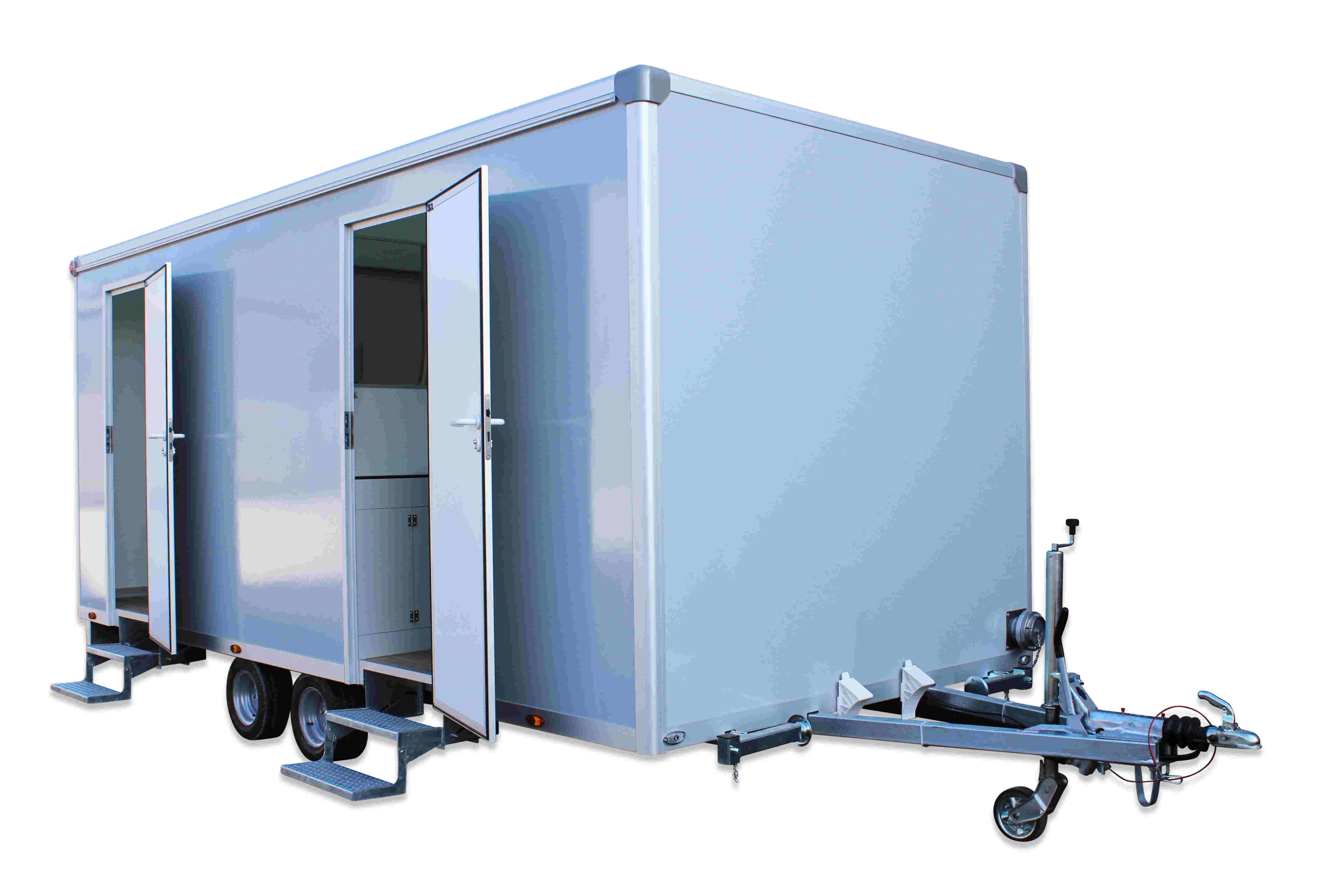 Toilettenwagen 4+1&4 Ansicht seitlich mit Türen zu Damen- und Herrenabteil